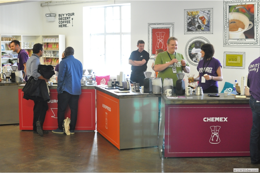 There are five stations in all. Here: Chemex, Aeropress and Pourover