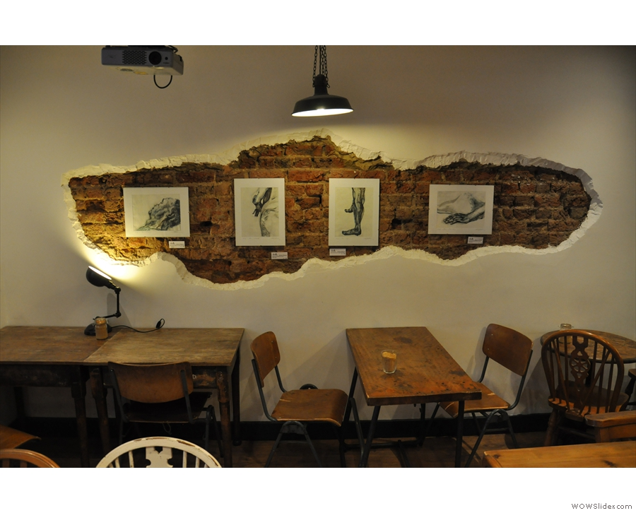 December: artwork adorning the walls of the basement in Leyas, London.