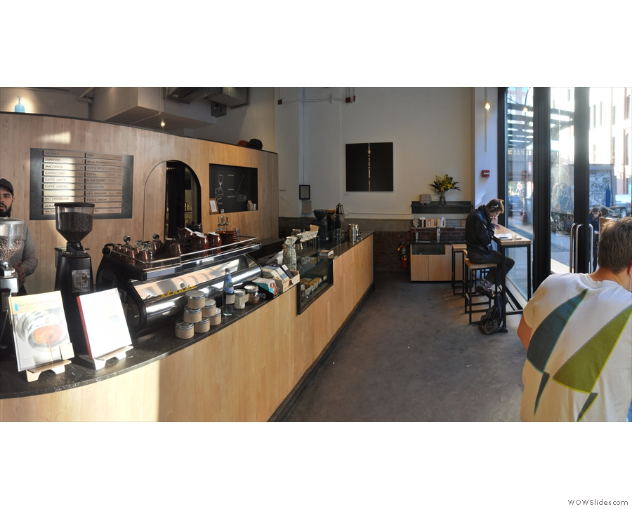 Stepping inside, Blue Bottle is long and thin...