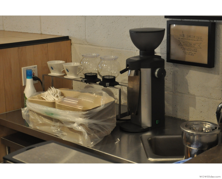 ... and more coffee-brewing kit at the far end.