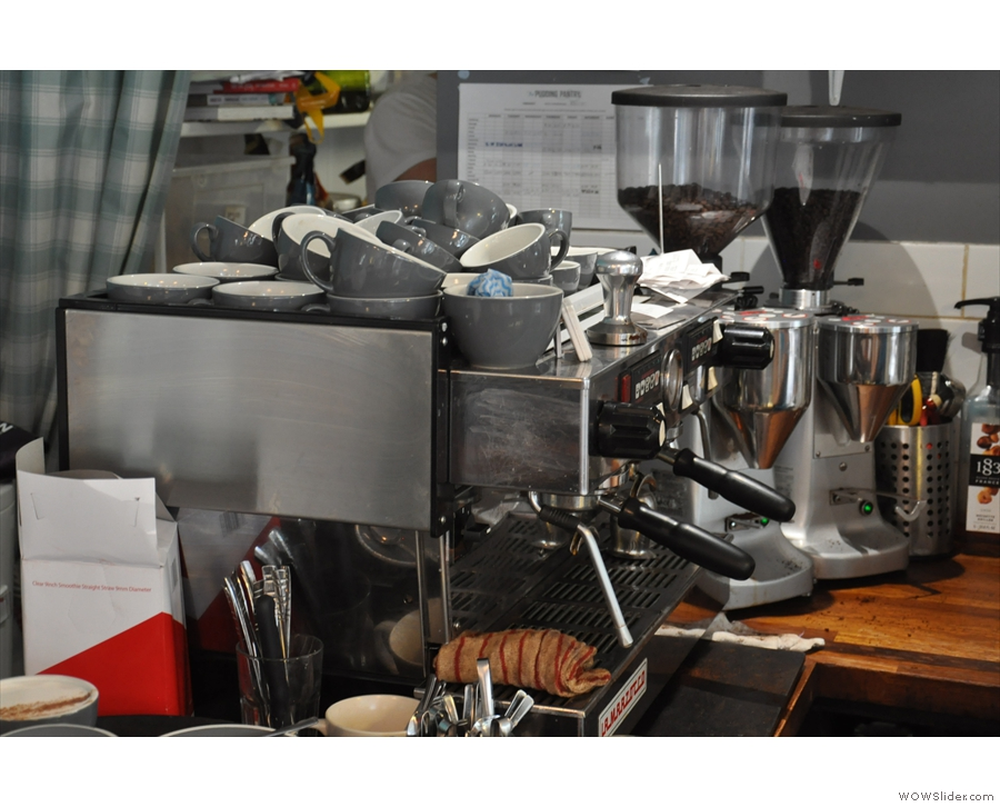 It's espresso only at the moment at The Pudding Pantry, the trusty La Marzocco to the fore.
