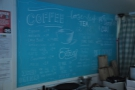 Talking of coffee, your options are on a blue board on the back walll behind the counter.