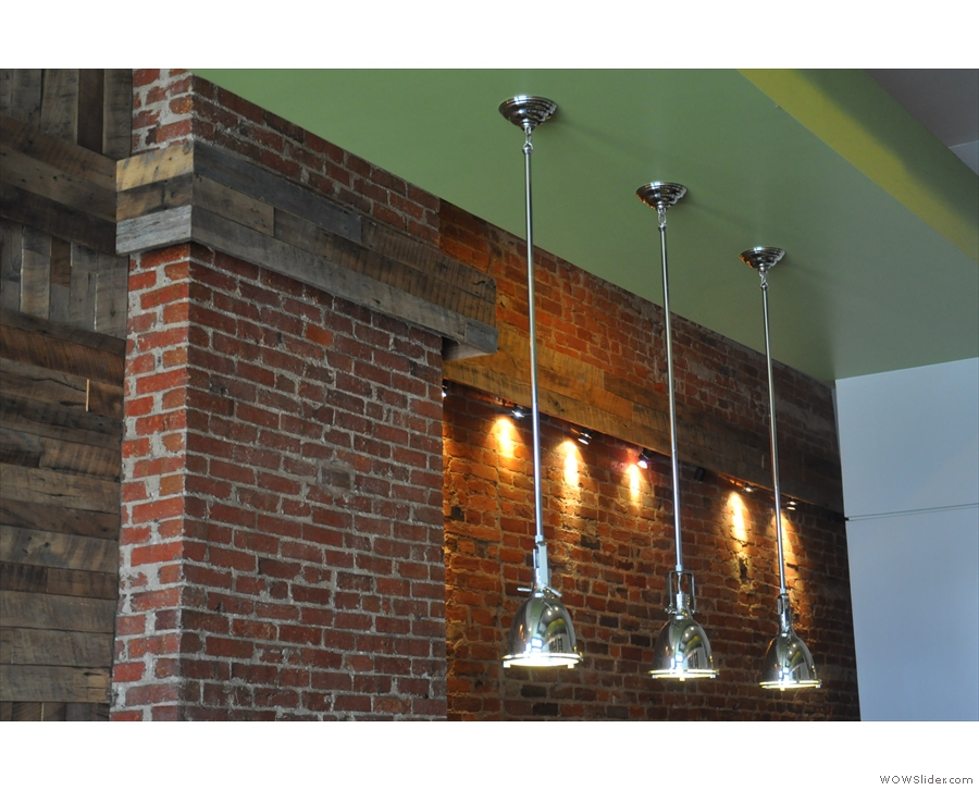 These three lovely lights hang down above the counter...