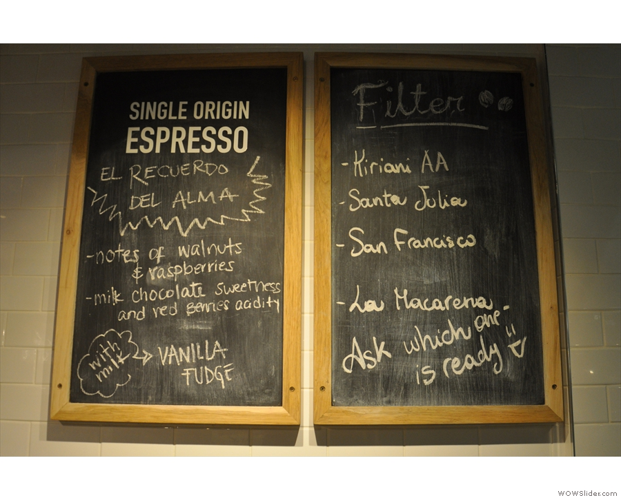 Meanwhile, the particular choice of beans (all single-origin, roasted in-house) are chalked up.
