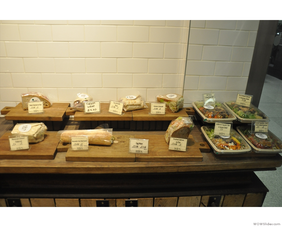 Underneath, from my afternoon visit in December, sandwiches and salads...