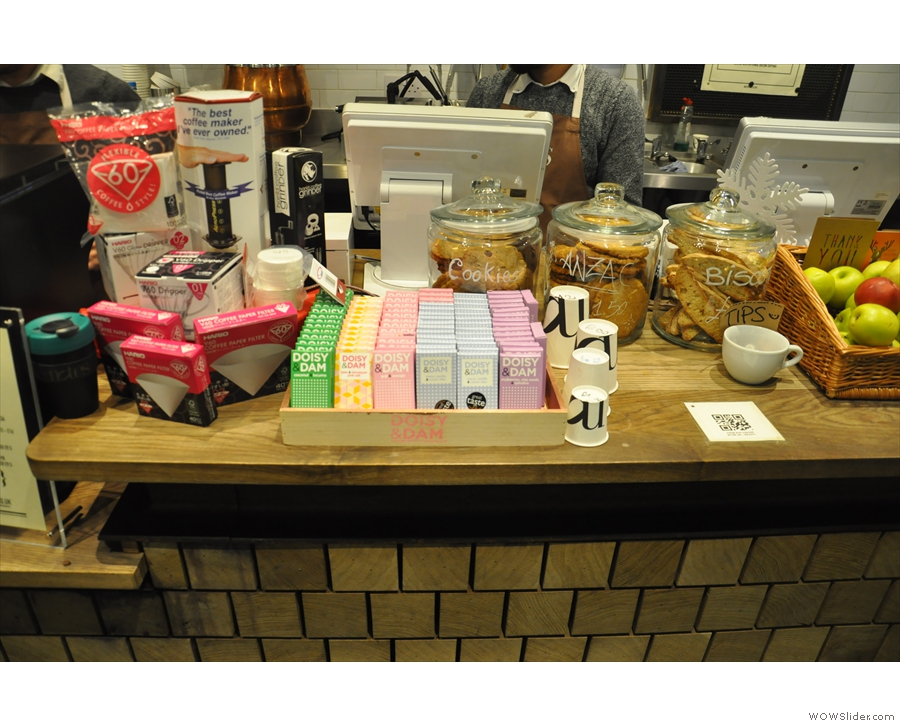 ... next to which are more goodies: fruit, biscuits, cookies and chocolate. Plus the tills.