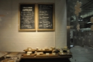 The end wall also houses a chalk board with details of the day's coffee.
