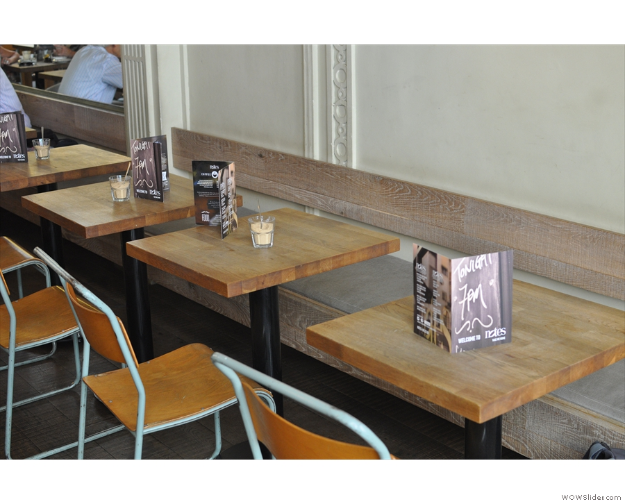 ... and tables opposite the counter.