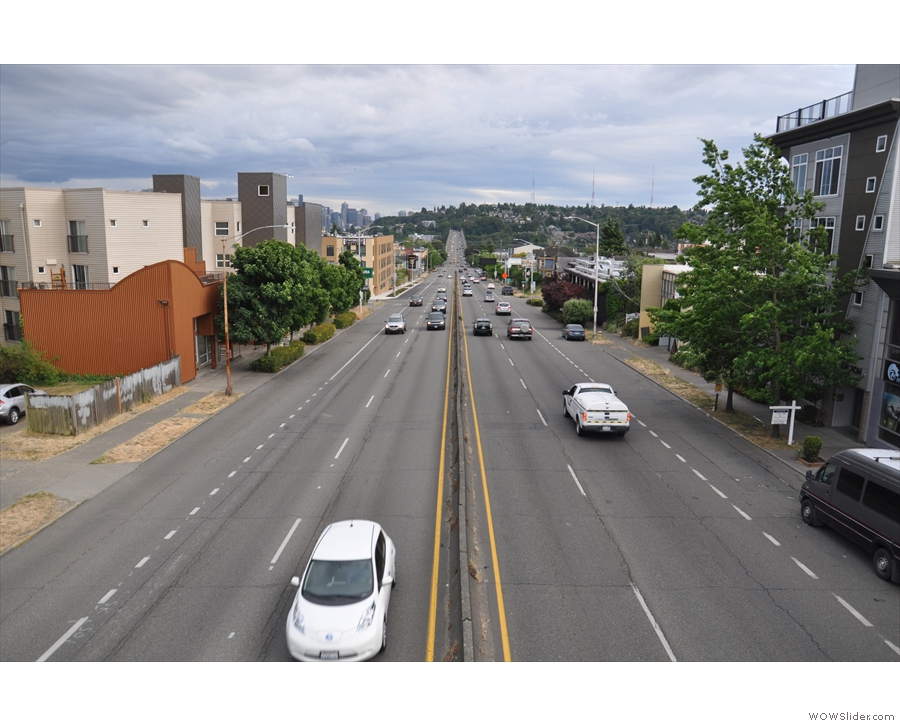 And looking the other way, Hwy 99 runs south over the Aurora Bridge and right into Seattle.
