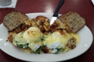 Let's explore. But first, breakfast, at the Blue Star Cafe and Pub. Eggs Florentine, of course.