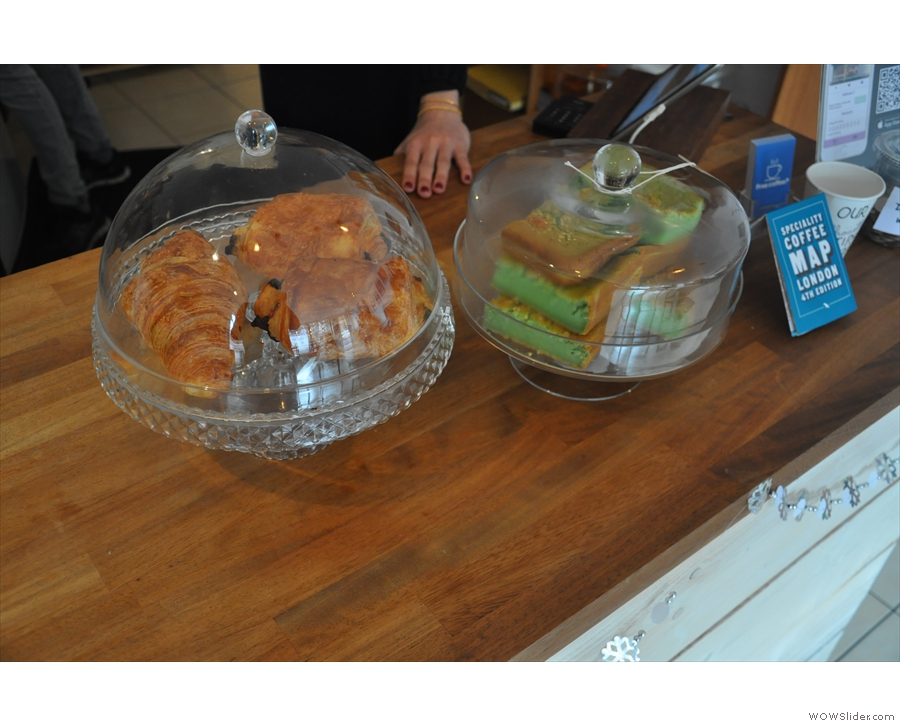 There's also a limited selection of cake. To the left, pastries, to the right...