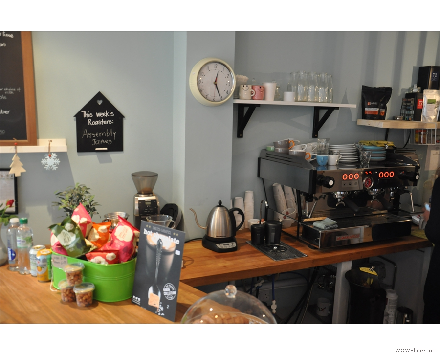 The coffee part of the business is against the left-hand wall, filter first, then espresso...