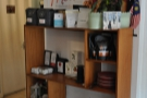 The coffee itself, especially the filter coffee, is on the opposite wall.
