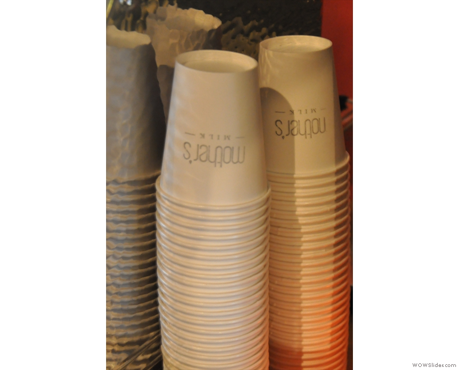 Nice takeaway cups. Fortunately there are proper cups (actually, glasses)  if you're sitting in.