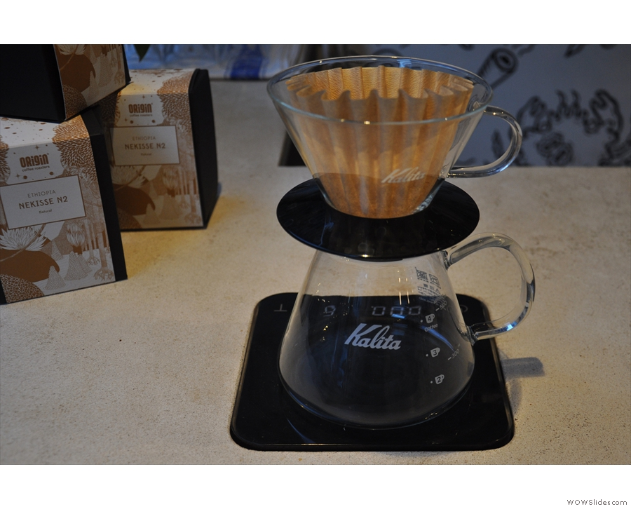 ... through this, the Kalita Wave filter. Sit. Watch. Learn.