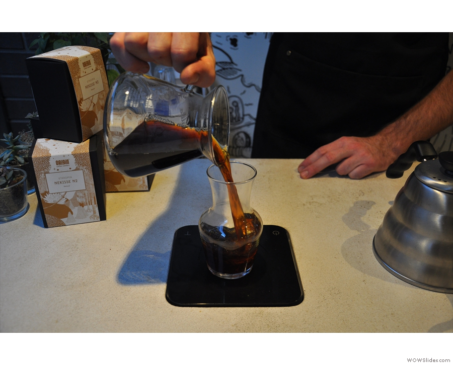 Now all we have to do is dispense the coffee into another carafe for serving...