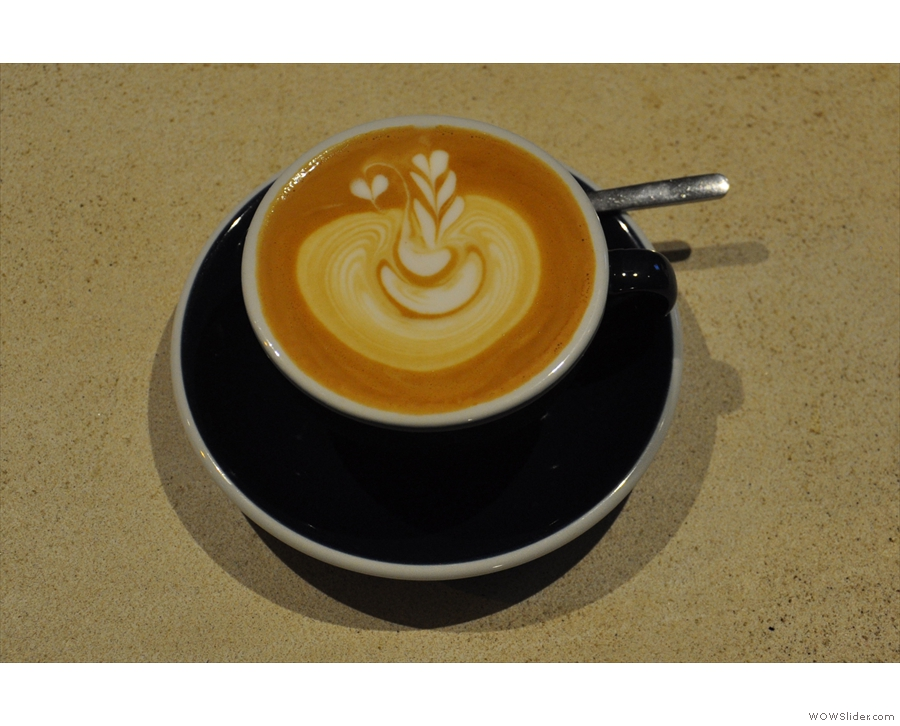 It's not all filter at Origin though. My barista, Jack, was also practicing his latte art.