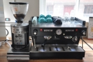 For espresso, there's this La Marzocco, the workhorse of many of a coffee shop...