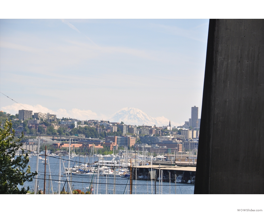 One last view, back along Fremont Cut and over Lake Union. What's that on the horizon?