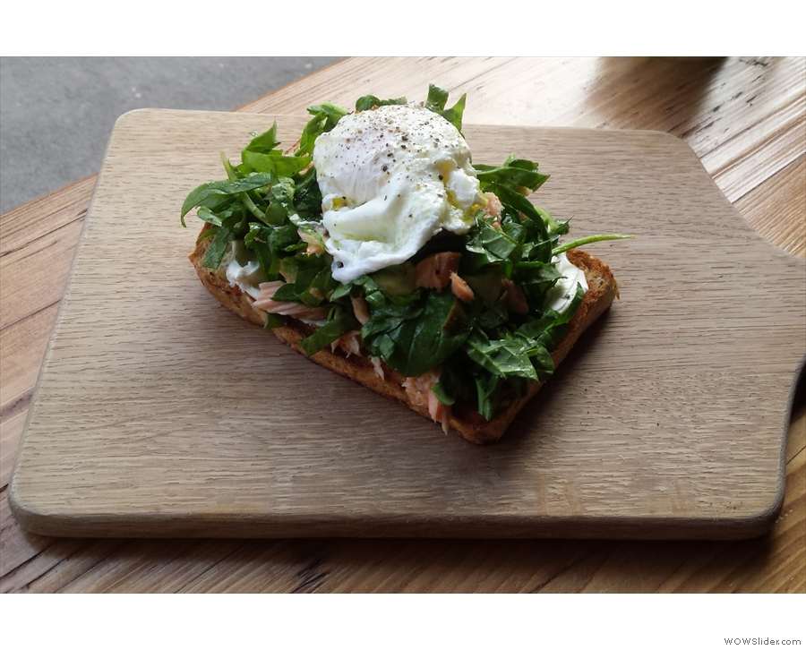 ... and the poached egg on toast, with salmon, spinach and cream cheese.