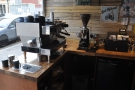 The espresso machine is in the corner, side on, so you can watch the barista at work.