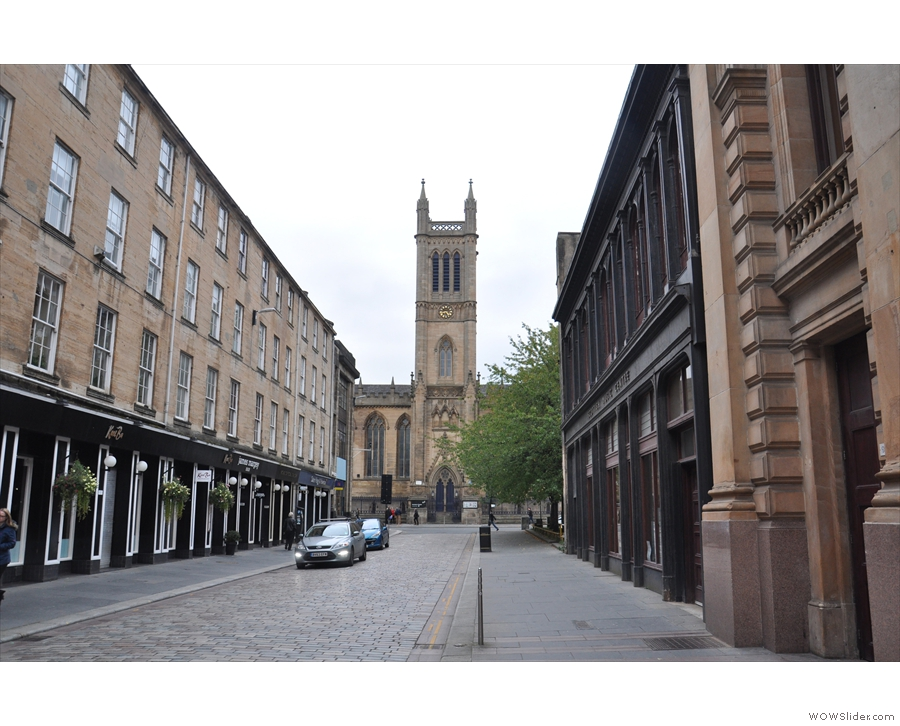 Looking down Candleriggs towards the Ramshorn Theatre & Spitfire Espresso (on the left).