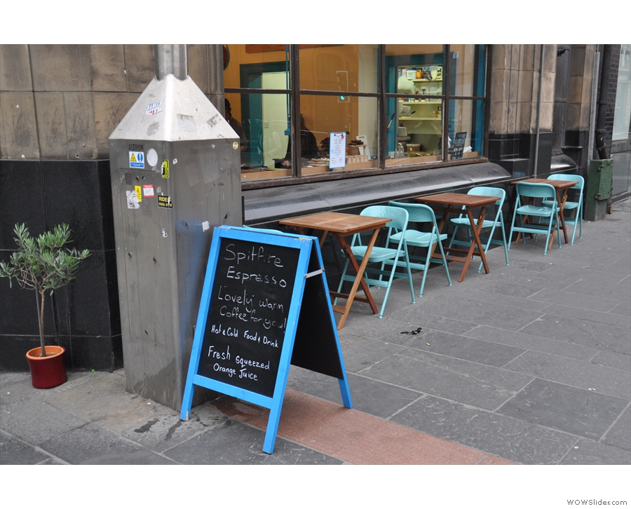 If you turn the corner, you'll find more outside seating on the Ingram Street side.
