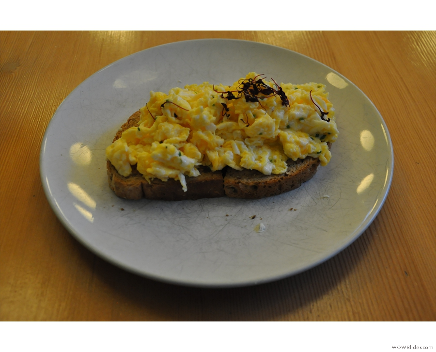 Which I accompanied with the 'Spitfire': scrambled eggs on toast.