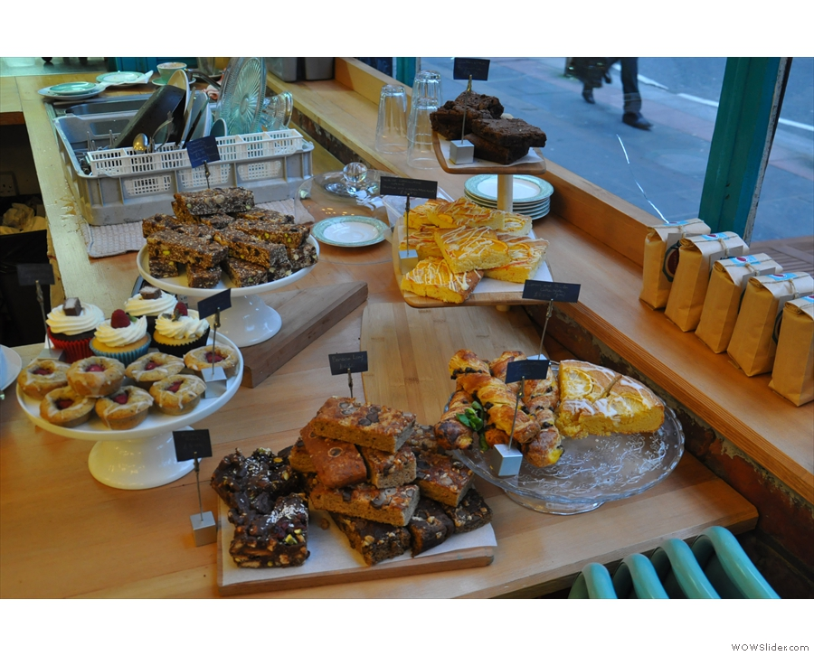 For the cake lover, there's a good selection at the end of the counter.