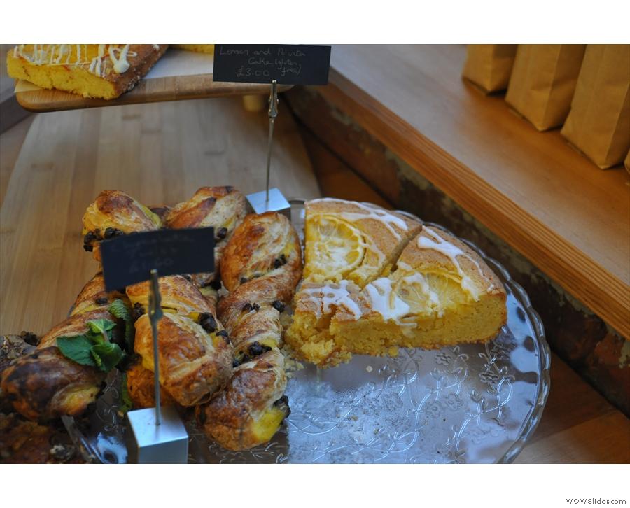 Chocolate twist (left) and lemon & polenta cake (right).