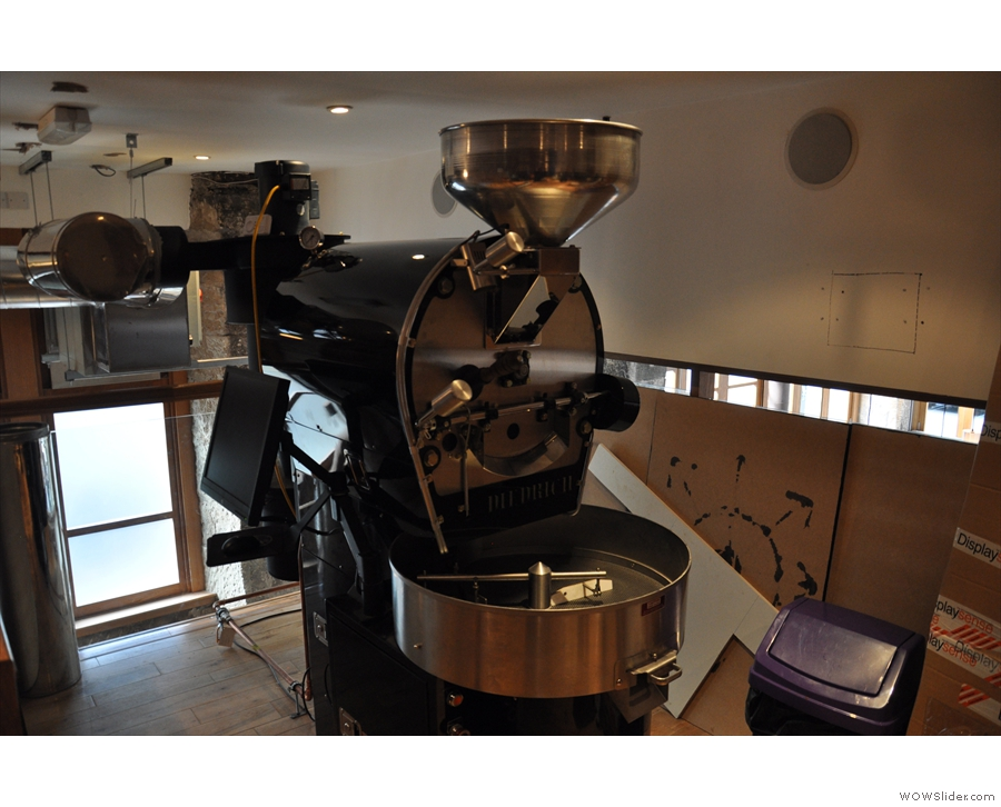 At the end nearest the stairs is the roaster, seen here in April 2014, just after installation...