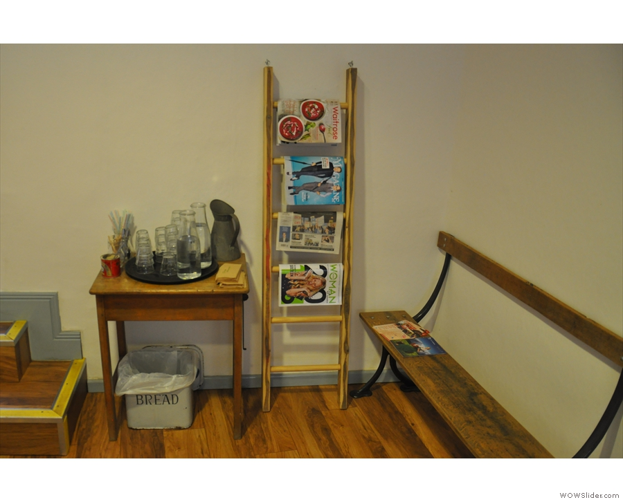 There's also a magazine rack and a water station back here...