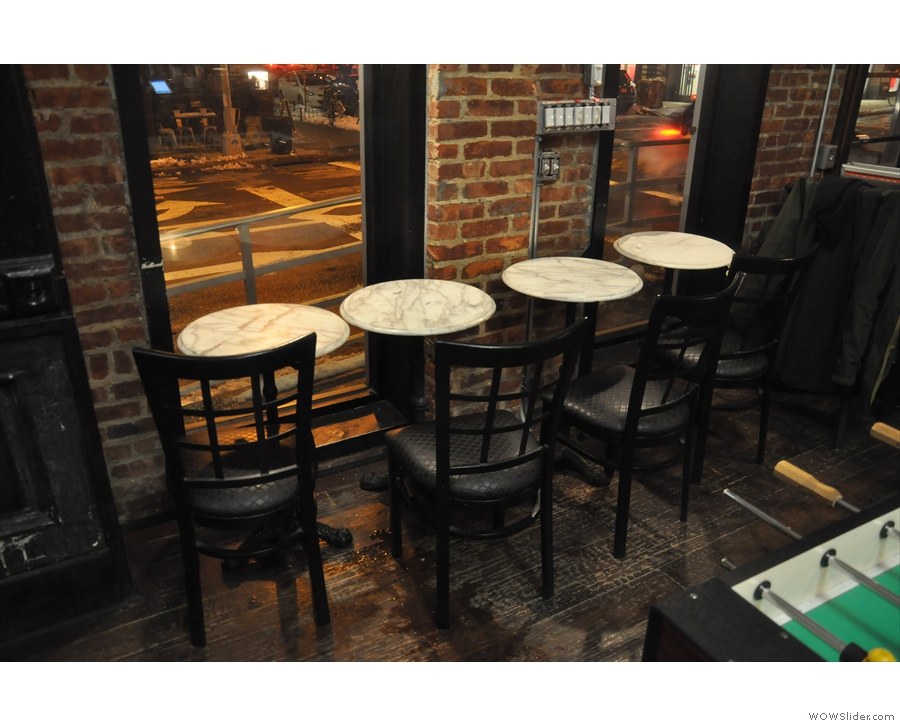 However, the bulk of the seating's here. Three of these four tables have a view of Kent Ave.