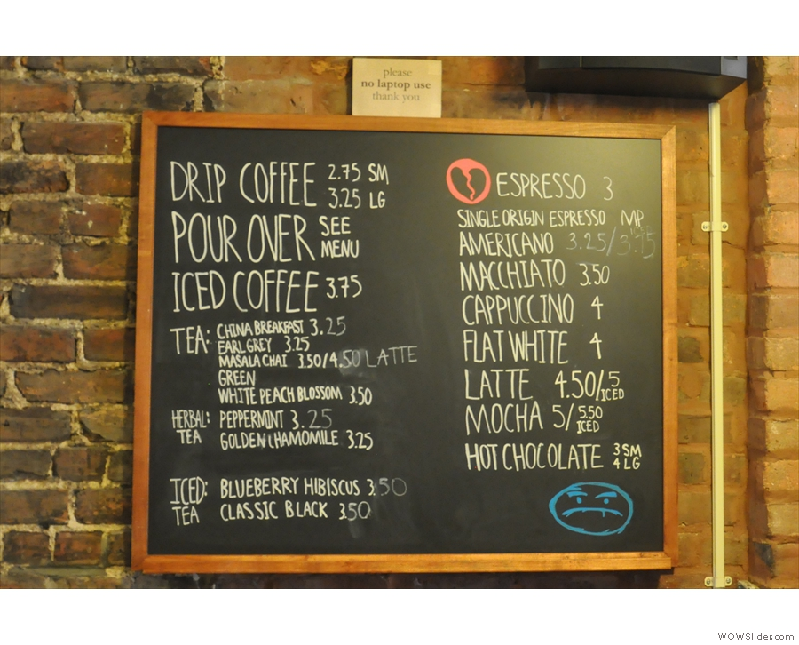To business. The hot drinks menu.