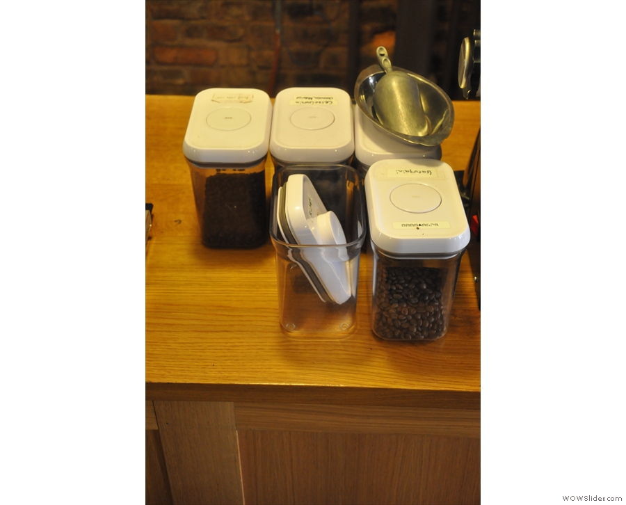 The coffee beans are also on the counter if you want to have a look at them.