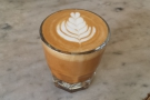 So... coffee. I had a cortado with the IRIS blend. It looked lovely iin its glass.