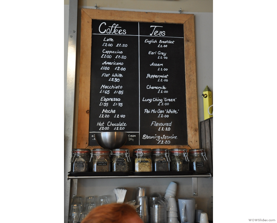 The coffee menu. There's also loose tea if that's more your thing.