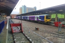 The end of the line: my final train (of 5 or maybe 7) arrives at Manchester Airport.