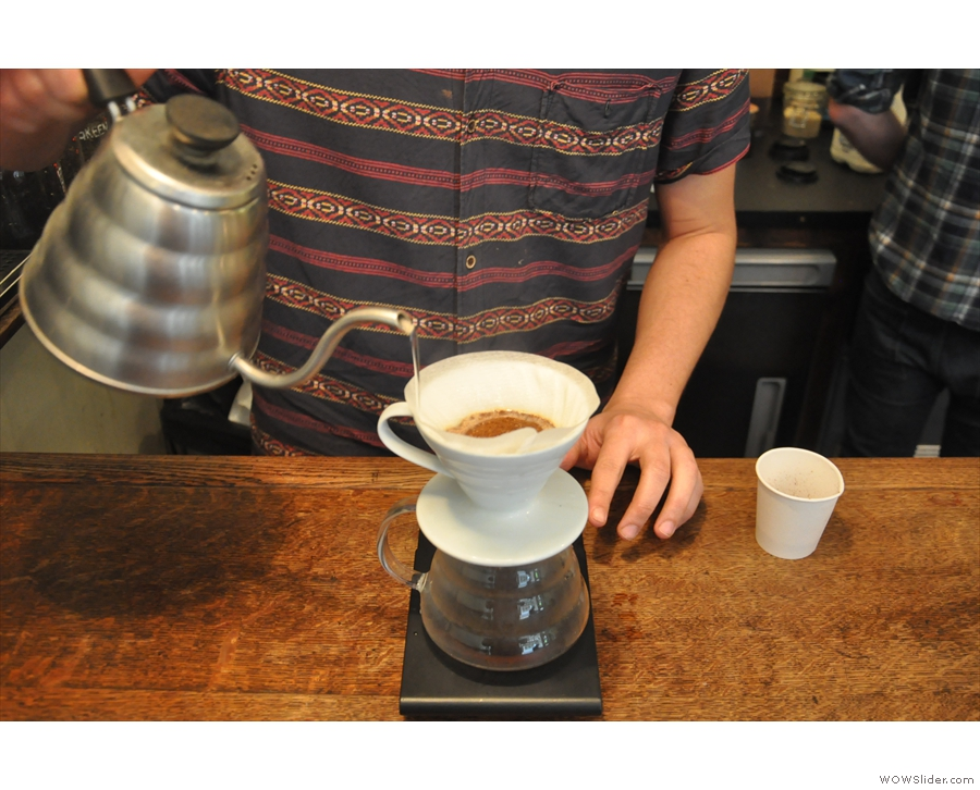 ... not to pour into the centre of the coffee. This was to reduce the water coming through...