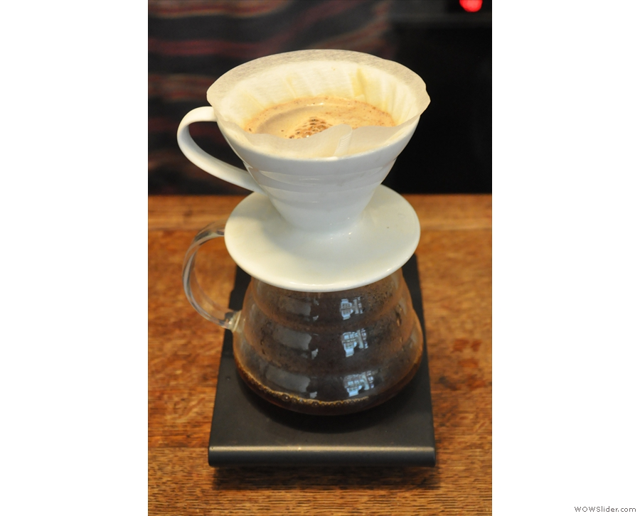 Between top-ups, the coffee is left to filter...