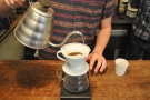 For the first pour, he very deliberately poured all the way around the edges, being careful...
