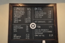 ... although the menu (plus espresso machines and grinders) are on the back wall.