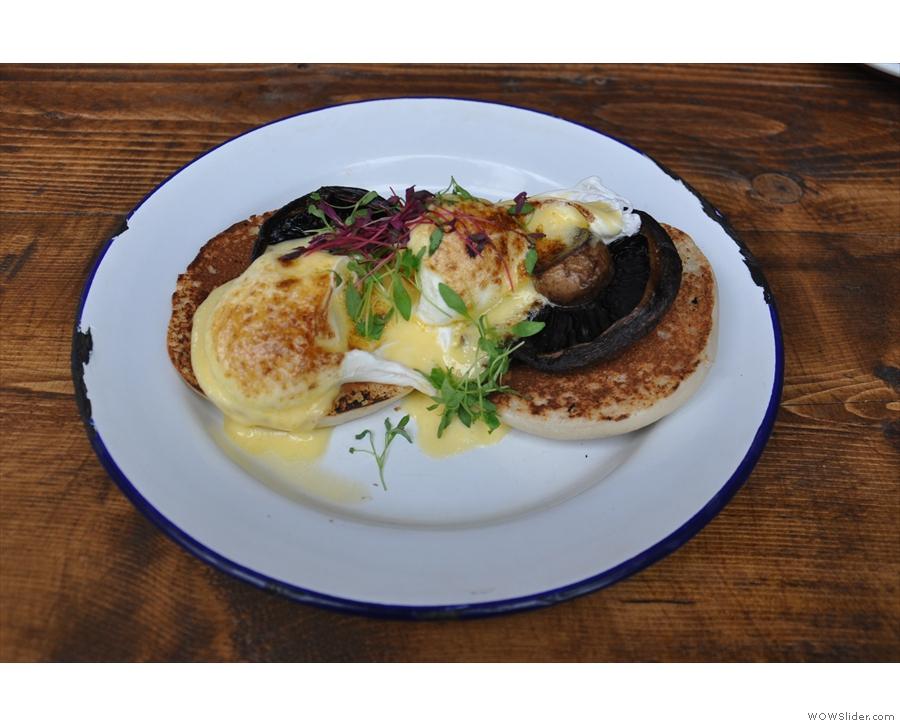 My Eggs Portobello. Effectively, Eggs Florentine, with portobello mushrooms not spinach.