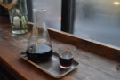I like my coffee served in a carafe (or in this case, beaker). Here it is in the cup (well, glass).