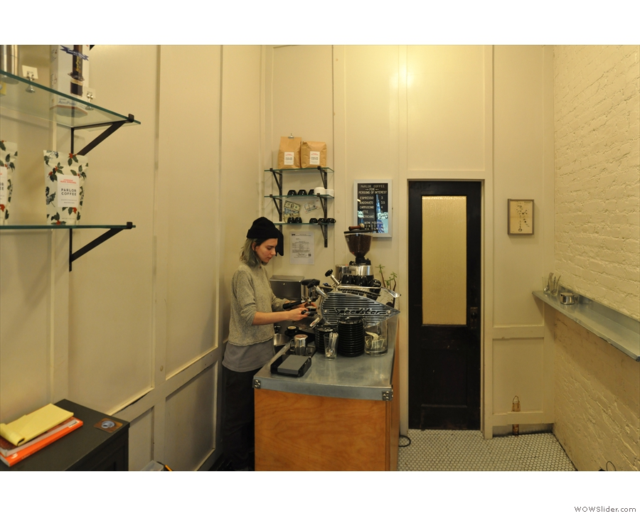 And here's the barista, Vanessa, at the controls of a lovely Kees van der Westen...