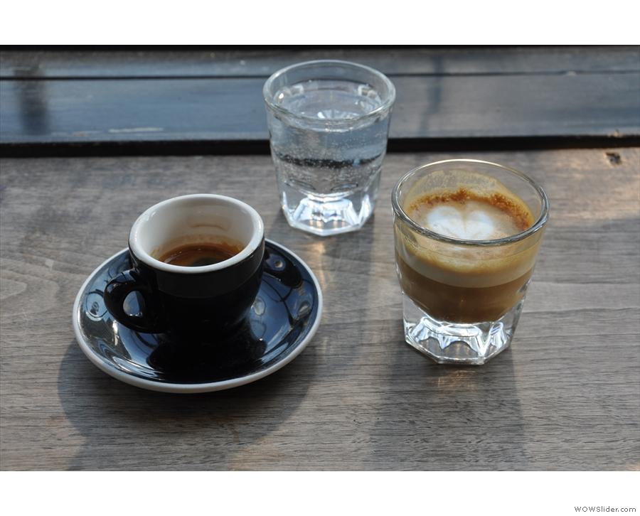 I had a split shot (an espresso & a cortado) of the Slap Shot blend...