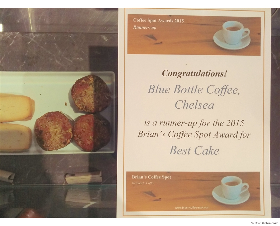 I was heading to Blue Bottle's Chelsea branch to present the 'Best Cake' Award certificate.
