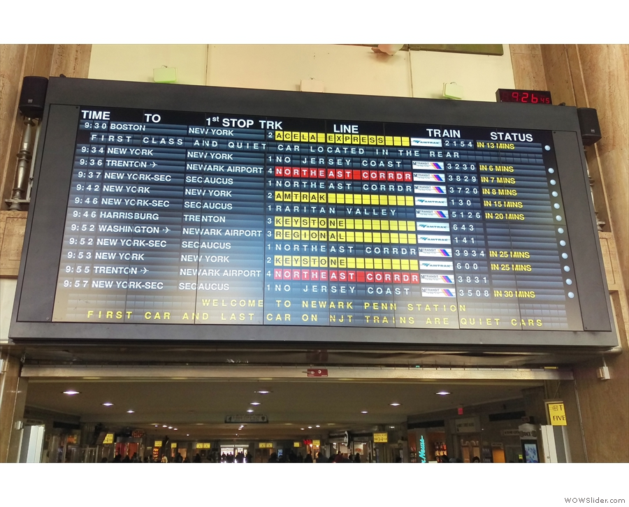I was fascinated by the old-style flip-over departures board. Mine is the 9:46 to Harrisburg.