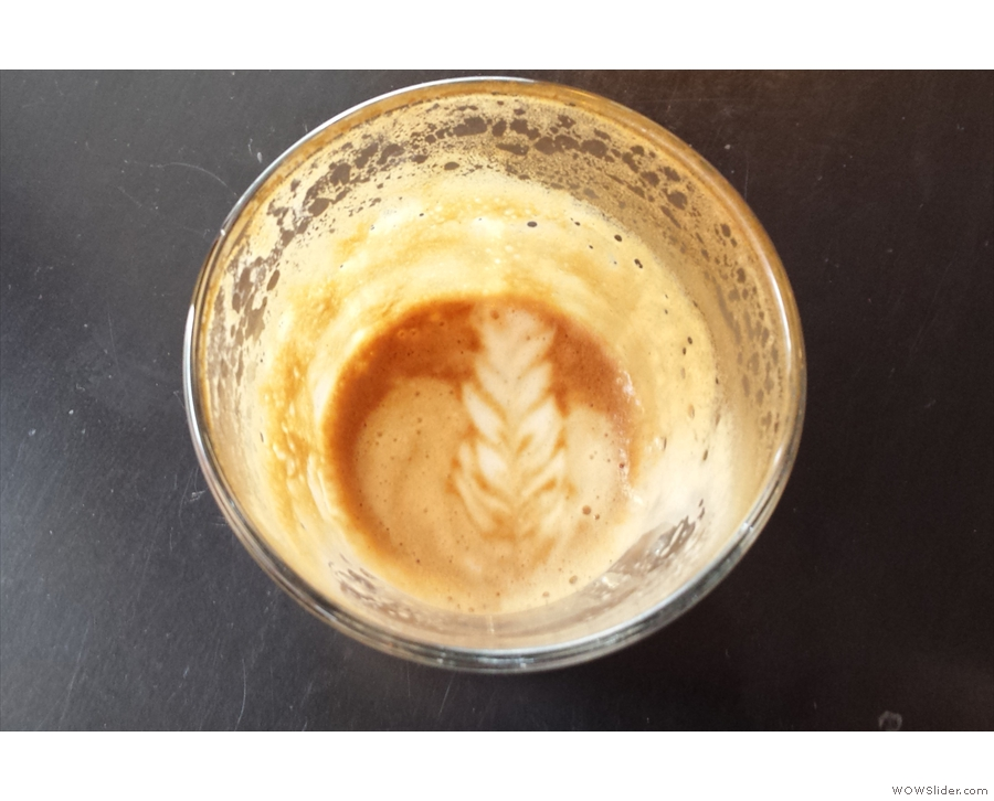 The milk in my cortado held the pattern all the way to the bottom of the glass. Impressive.