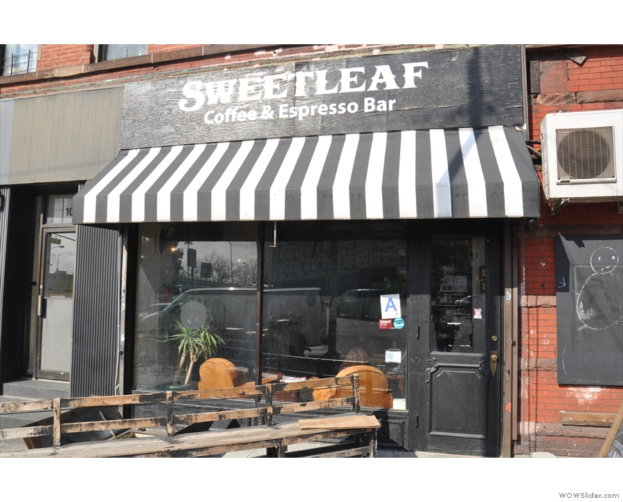 The original Sweetleaf, on a sunny corrner on Jackson Avenue in Queens, New York.